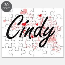 Cindy Artistic Name Design with Hearts Puzzle