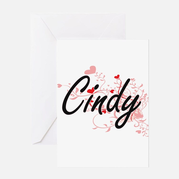 Cindy Artistic Name Design with Hea Greeting Cards