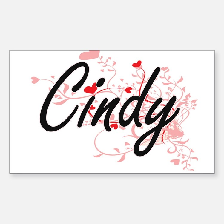 Cindy Artistic Name Design with Hearts Decal