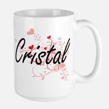 Cristal Artistic Name Design with Hearts Mugs