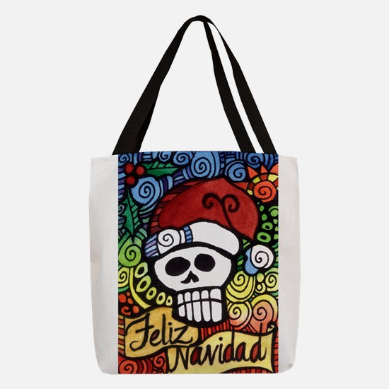 Day of the Dead Feliz Navidad S Polyester Tote Bag