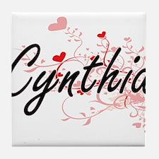Cynthia Artistic Name Design with Hea Tile Coaster