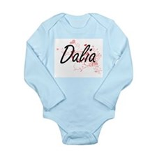Dalia Artistic Name Design with Hearts Body Suit