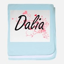 Dalia Artistic Name Design with Heart baby blanket