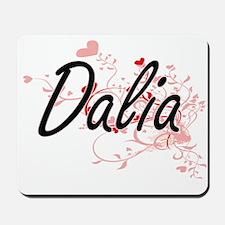 Dalia Artistic Name Design with Hearts Mousepad