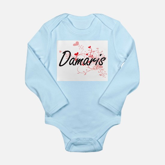 Damaris Artistic Name Design with Hearts Body Suit