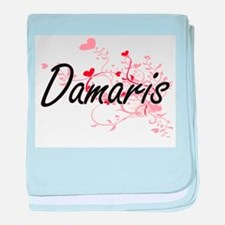 Damaris Artistic Name Design with Hea baby blanket