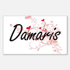 Damaris Artistic Name Design with Hearts Decal