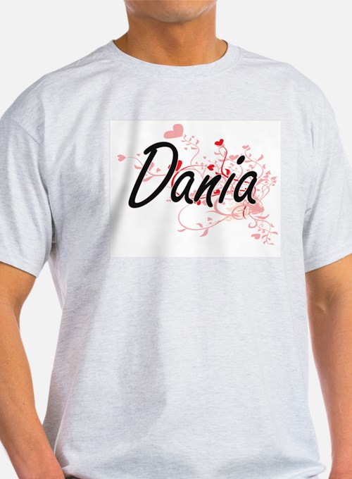 Dania Artistic Name Design with Hearts T-Shirt