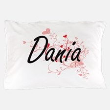 Dania Artistic Name Design with Hearts Pillow Case