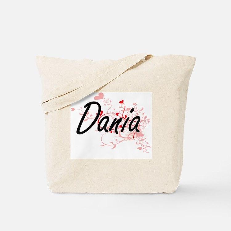 Dania Artistic Name Design with Hearts Tote Bag