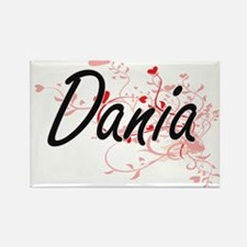 Dania Artistic Name Design with Hearts Magnets