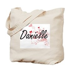 Danielle Artistic Name Design with Hearts Tote Bag