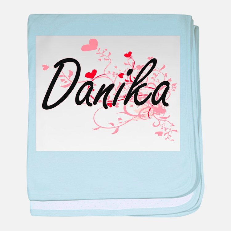 Danika Artistic Name Design with Hear baby blanket