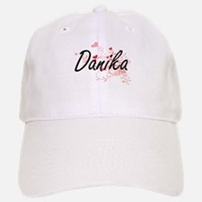 Danika Artistic Name Design with Hearts Baseball Baseball Cap