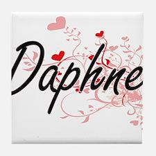 Daphne Artistic Name Design with Hear Tile Coaster