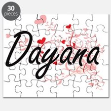 Dayana Artistic Name Design with Hearts Puzzle