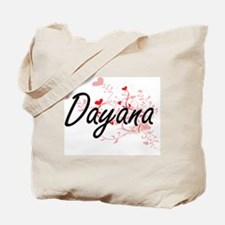 Dayana Artistic Name Design with Hearts Tote Bag