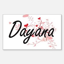 Dayana Artistic Name Design with Hearts Decal