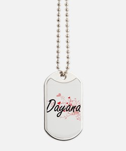 Dayana Artistic Name Design with Hearts Dog Tags
