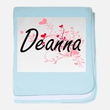 Deanna Artistic Name Design with Hear baby blanket