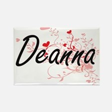 Deanna Artistic Name Design with Hearts Magnets