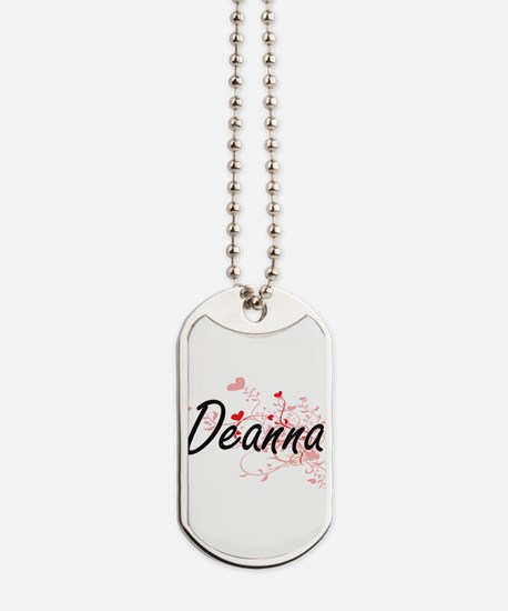 Deanna Artistic Name Design with Hearts Dog Tags