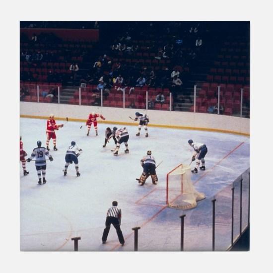 Vintage Ice Hockey Match Tile Coaster