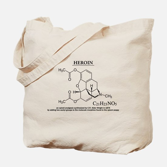 heroin: Chemical structure and formula Tote Bag