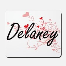 Delaney Artistic Name Design with Hearts Mousepad