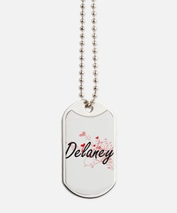 Delaney Artistic Name Design with Hearts Dog Tags