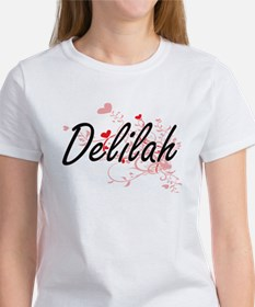 Delilah Artistic Name Design with Hearts T-Shirt
