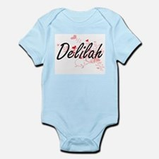 Delilah Artistic Name Design with Hearts Body Suit