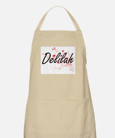 Delilah Artistic Name Design with Hearts Apron