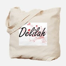 Delilah Artistic Name Design with Hearts Tote Bag