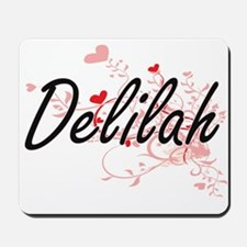 Delilah Artistic Name Design with Hearts Mousepad