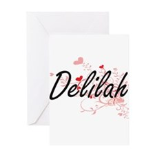 Delilah Artistic Name Design with H Greeting Cards
