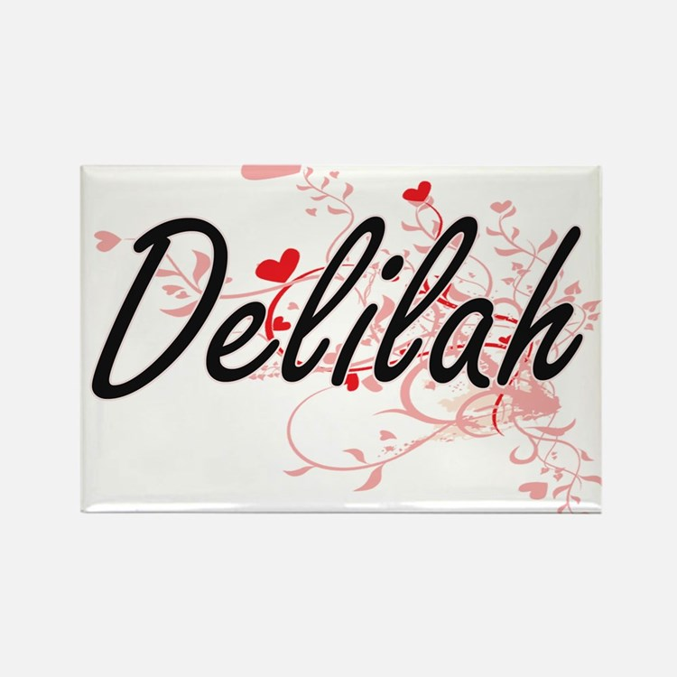 Delilah Artistic Name Design with Hearts Magnets