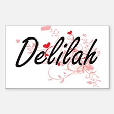 Delilah Artistic Name Design with Hearts Decal