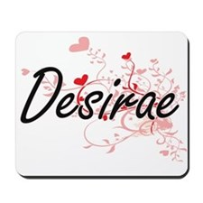 Desirae Artistic Name Design with Hearts Mousepad