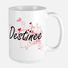 Destinee Artistic Name Design with Hearts Mugs