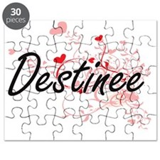 Destinee Artistic Name Design with Hearts Puzzle