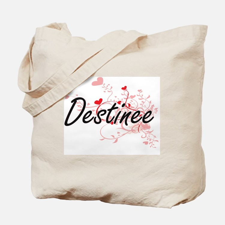 Destinee Artistic Name Design with Hearts Tote Bag