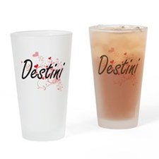 Destini Artistic Name Design with H Drinking Glass