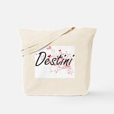 Destini Artistic Name Design with Hearts Tote Bag