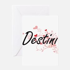 Destini Artistic Name Design with H Greeting Cards