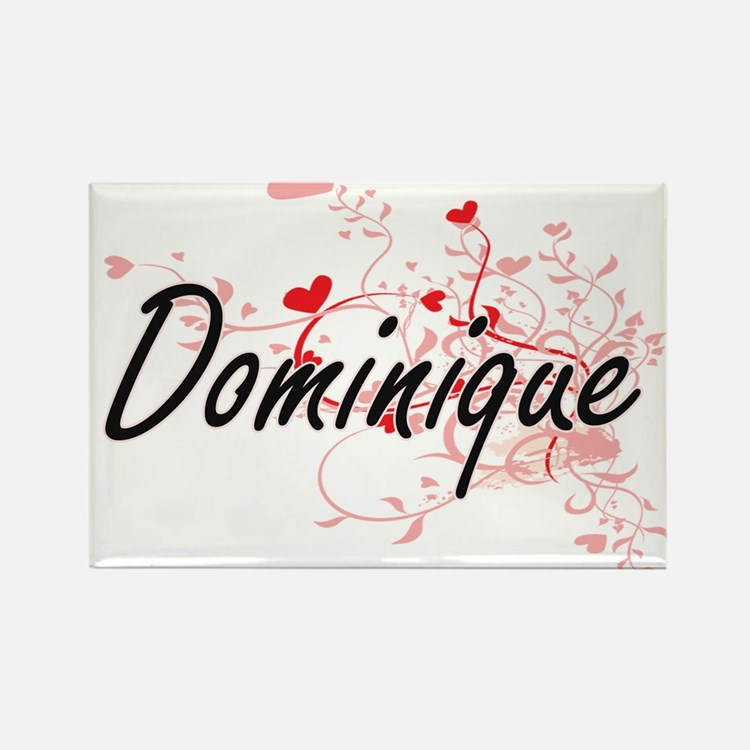 Dominique Artistic Name Design with Hearts Magnets