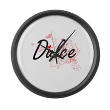 Dulce Artistic Name Design with H Large Wall Clock
