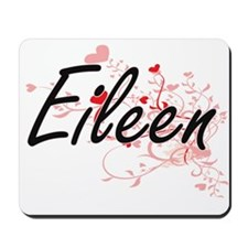 Eileen Artistic Name Design with Hearts Mousepad