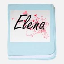Elena Artistic Name Design with Heart baby blanket